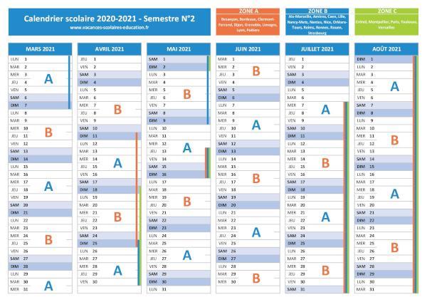 Semaine A   Semaine B : calendrier scolaire 2020 2021