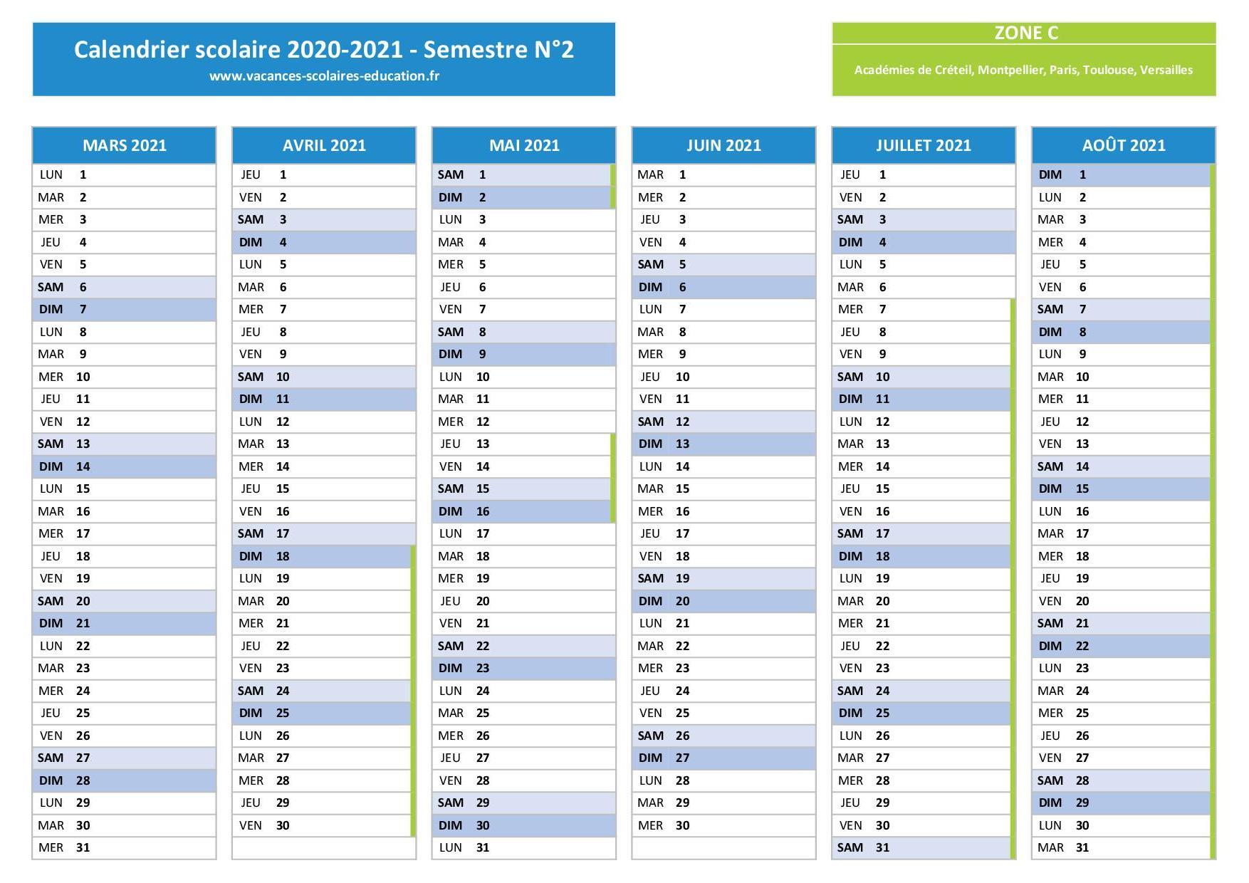 Calendrier scolaire 2020 2021 à imprimer