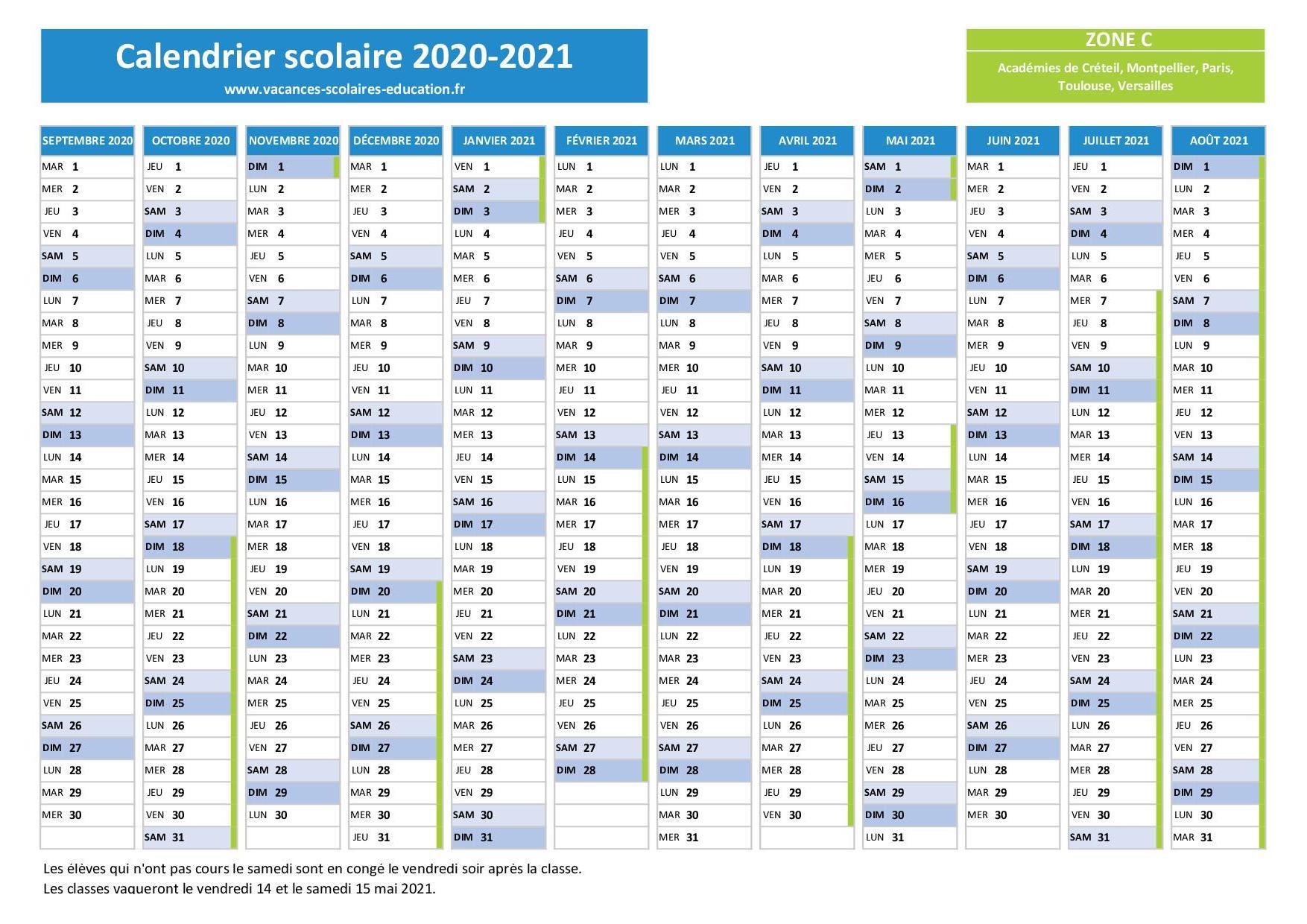 Vacances scolaires Paris   Calendrier scolaire 2020 2021 et 2021 2022